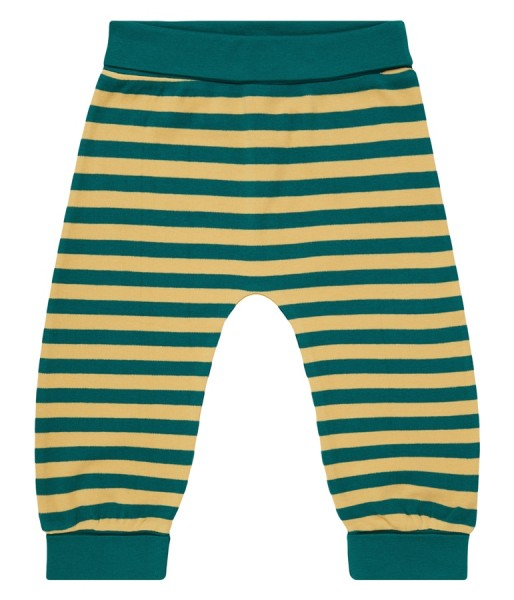 Baby Pant, Teal-Curry Stripes 100% Bio-Baumwoll-Interlock, Sense Organics