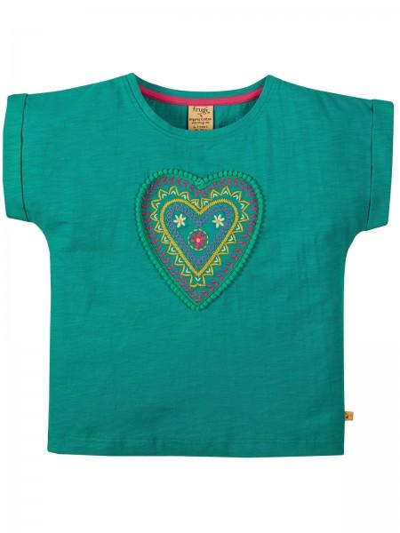 Kurzarmshirt mit Herz-Applikation, grünblau von Frugi vorn