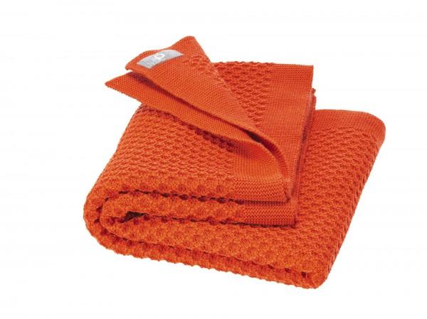 Waben-Strickdecke, orange von Disana