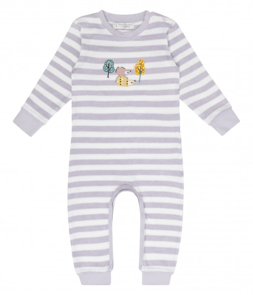 Baby Strampler, Igel/lila Streifen, 100% Bio-Baumwolle Sense Organics