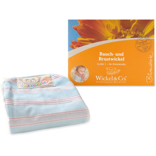 Bauch- und Brustwickel für Kinder, hellblau mit Streifen in blau-weiß-rot, 6083, Wickel & Co.