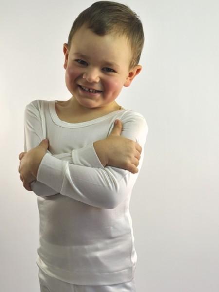 Kinder Seiden-Shirt langarm, naturweiß, Alkena, GOTS, 3441, 131085128
