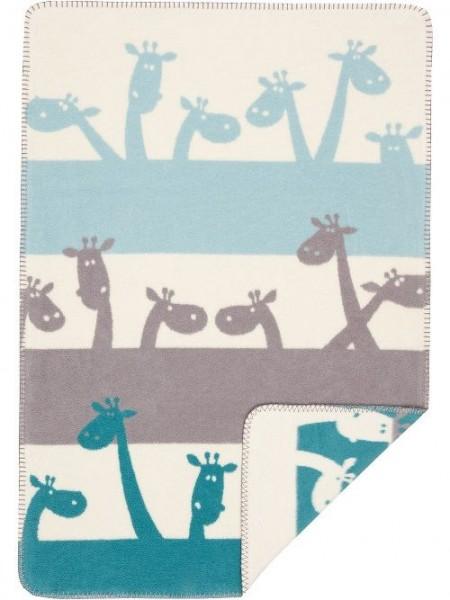 Baby Baumwolldecke, blau/Giraffen 100% BioBaumwolle von Richter