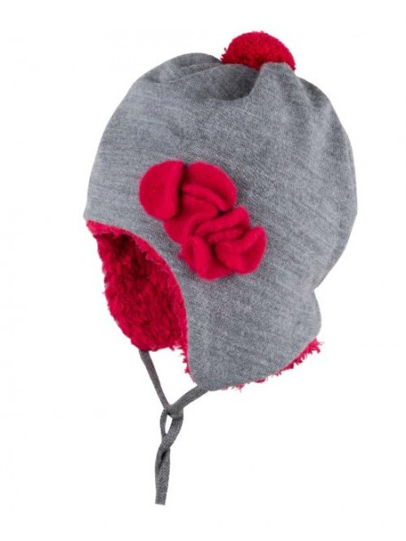 Wintermütze mit Bommel, grau/himbeer 1 Stadelmann Natur Online Shop