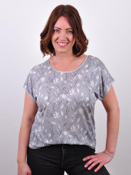 Sommerliches Kastenshirt, grau-geblümt von kokon 2